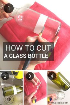 DIY Bottle Cutting for DIY craft projects. There are countless ways to cut or to break a glass bottle or jar. This method is fool proof. Its quick and easy and leaves you with the cleanest cut. In 4 easy steps let us show you how. Cutting Glass Bottles, Recycled Glass Bottles, Glass Bottle Crafts, Wine Bottle Art, Diy Bottle, Glass Jars, Wine Bottle Cutting, Diy With Glass Bottles, Diy Wine Bottles Crafts