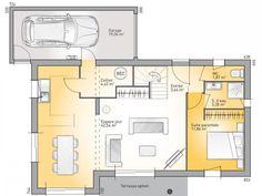 Plans de maison : RDC du modèle Eco-Concept. Maison moderne à étage de 110m2. 3 chambres + 1 suite parentale #Maison #plans #contemporaine #moderne #MaisonsFranceConfort