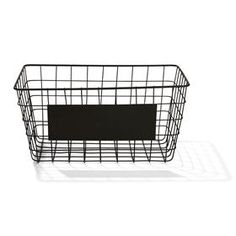 Wire Basket Product details Organise your daily staples using this wire basket that comes with a message sheet for labelling purposes. Iron wire (basket) and metal (message sheet) For domestic use only x x Colour: Black SKU: Wire Baskets, Storage Baskets, Storage Units, Storage Containers, Wire Storage, Storage Boxes, Food Storage, Black Wire Basket, Pantry Organisation