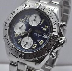 BREITLING COLT AUTO CHRONOGRAPH WITH BOX AND PAPERS STAINLESS STEEL CIRCA 1999