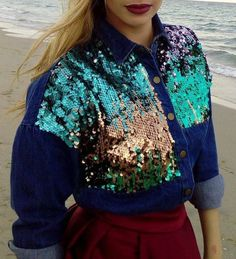 Blouse: denim jacket denim denim shirt sequins sequin shirt sparkle cute outfits cute top cute skirt