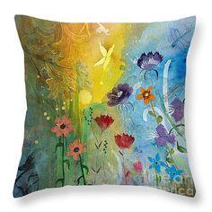 "Mariposa Throw Pillow 14"" x 14"" by Robin Maria  Pedrero"