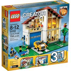 LEGO Creator Family House Settle into sleek and modern LEGO® style in the Family House! Fire up the grill for a backyard barbeque by the pond and play Lego Creator Sets, The Creator, Lego Creator House, Lego City, Modern Glass, Mid-century Modern, Light Brick, Backyard Barbeque, Yellow Car