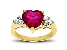 Ruby and White Sapphire Heart Ring in 18K Gold over Sterling Silver