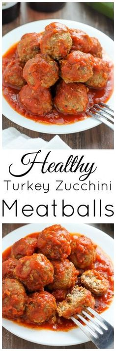 Baked Turkey Zucchini Meatballs in Homemade Marinara Sauce - ready in about 30 minutes and under 200 calories per serving!