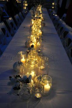 Benachi House wedding, mason jars, candles, white pumpkins, cotton.