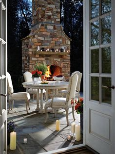 Weather permitting, move Thanksgiving dinner outdoors. A backdrop of fall-colored leaves and crisp air will provide the perfect setting for the feast. Image courtesy of Stanley Furniture.