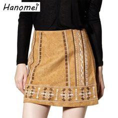 Embroidery Suede Leather Skirt Mini Boho Skirts Womens 2017 Summer High Waist Saia Short Jupe Femme Retro Faldas Mujer C103