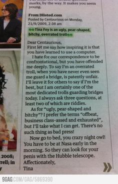 How Tina Fey responded to a mean comment. She is awesome!