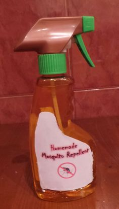 Homemade Mosquito Repellent Have not tried it. I have used couple tablespoons of lemon scented ammonia in a quart spray bottle filled with water, or make larger batch and put in garden pump sprayer and spray area you are going to be in, grass ,deck, bushes.