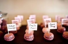 Macaron Favours : wedding edible favors macarons macaroons pink wedding favors Macaroons Name Cards Macaron Favors, Edible Favors, Edible Wedding Favors, Wedding Desserts, Party Favours, Hunting Wedding, Seating Cards, Table Seating, Wedding Place Cards
