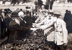 The picture was taken in 1913 at the Gettysburg . It was the 50th Anniversary Reunion.