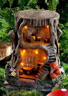 Garden Crafts, Garden Art, Garden Design, Garden Ideas, Fairy Crafts, Patio Ideas, Fairy Tree Houses, Fairy Garden Houses, Fairies Garden