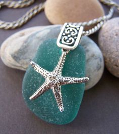 Bounty Sea Glass Pendant Sterling Silver Star Fish Necklace. $89.00, via Etsy.
