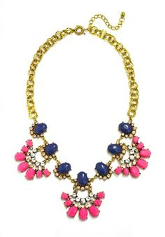 DaisyGem | Navy Blue Pink Rhinestone Jeweled Flower Pendant Designer Gold Statement Necklace