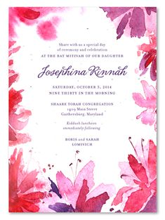 Unique Bat Mitzvah Invitations on plantable paper ~ Botanical Blooms (seeded) by ForeverFiances Celebrations