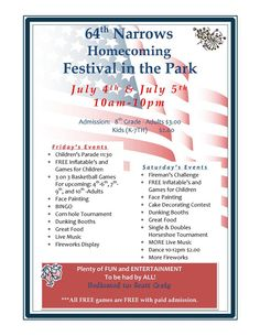 64th Narrows Homecoming Festival in the Park on July 4 and July 5, 2014 at the Narrows Town Park.