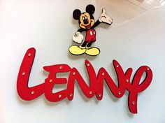 Disney font wooden door name in red with Mickey :)) I can make any name x