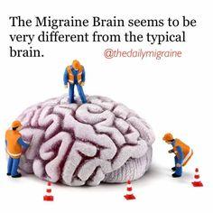 The migraine brain seems very different than the typical brain. #thedailymigraine #migraine #chronicmigraines #chronicillness #spoonie #spoonielife #butyoudontlooksick #chronicpain
