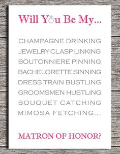 """Printable """"Will You Be My Matron of Honor?"""" card By Paper Hat Designs on Etsy, $5"""