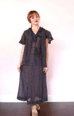 40s Dress  1940s Polka Dot Midi Dress  Tie Waist Day by xYATESx