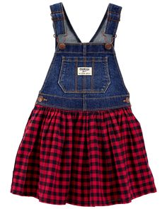 Denim Jumper Dress | carters.com Denim Jumper Dress, Denim Skirt, Overall Shorts, Toddler Dress, Toddler Outfits, Toddler Girl, Fall Days, Oshkosh Bgosh, Overalls