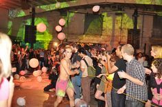 Zorb guts: Balloons flying, people dancing. (Via The Pink Line Project.)