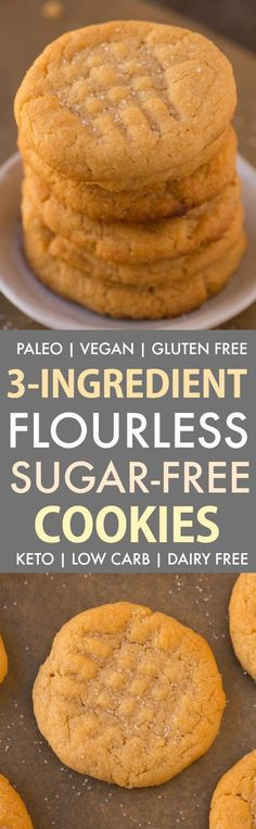 The BEST Easy 3 ingredient flourless sugar free peanut butter cookies recipe made with NO eggs, keto, vegan and ready in 12 minutes- Almond butter option too! Keto Cookies, Sugar Free Peanut Butter Cookies, Flourless Peanut Butter Cookies, Peanut Butter Cookie Recipe, Sugar Free Desserts, Sugar Free Recipes, Sugar Cookies Recipe, Low Carb Desserts, Low Carb Recipes