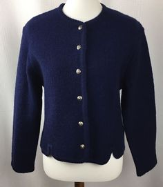 Orvis Womens  Cardigan Sweater Jacket Size 8 100% Wool Career Blazer Blue #Orvis #Cardigan #WorkCasual