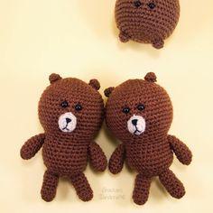 Line Brown Bear - Free Amigurumi Pattern here: http://snacksieshandicraftcorner.blogspot.de/2014/08/line-brown-crochet-amigurumi-pattern.html (scroll down)