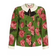 Gucci English Rose-print long-sleeved silk blouse (€955) ❤ liked on Polyvore featuring tops, blouses, green print, green silk blouse, long sleeve silk blouse, pleated top, silk top and long sleeve peter pan collar blouse
