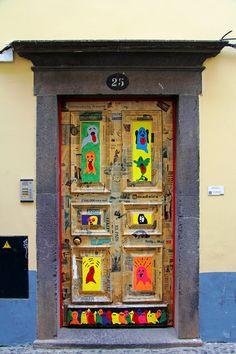 The painted doors of Old Funchal, Madeira Funchal, Porch Windows, Arched Windows, Windows And Doors, Door Entryway, Entry Doors, Door Gate, Unique Doors, Old Doors