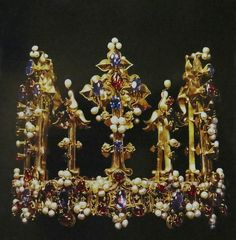 Princess Blanche's Crown, ca 1370-80. This stunning object was in the Tower of London in 1399, but was taken to Germany two years later when Henry IV's daughter, Blanche, married Ludwig III of Bavaria.