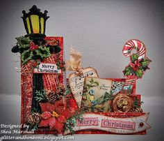 A sidestep Christmas card using Heather Hudson's collage sheets.  On The Second Day of Christmas...http://glitterandbonbons.blogspot.com/