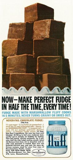 Dying for Chocolate: Marshmallow Fluff (Creme) Brownies: 2 Vintage Ads with Recipes