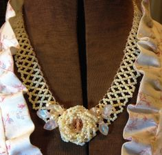 Ivory Rose Collar Necklace Netted Beadwork by ReneesBrambleBeads, $45.00