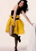 1980s Black and Yellow Party Dress