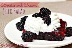 Berries and Cream Jello Salad- so easy to whip together. Makes the perfect dessert (or if you are like me- side dish!). SixSistersStuff.com