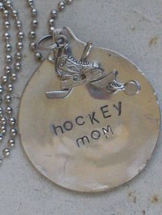 Hockey Mom Stamped Vintage Spoon Necklace   www.laughingfrogstudio.etsy.com $18.00