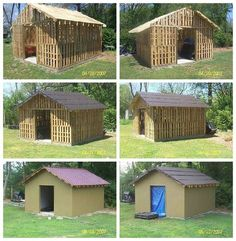 Many pictures from different constructions made from wooden pallets! From the dog house to several fences, here is a shed built by Tony Utterback from Arab