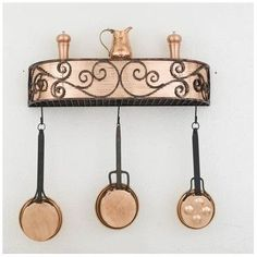 Hi-Lite Authentic Iron Wall Mounted Pot Rack Accent Finish: Brushed Gold Topcoat, Copper Insert: Yes, Base Finish: Black Leather