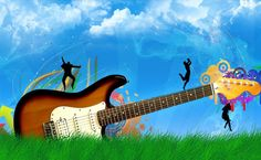 Dancing on a guitar HD Wallpaper