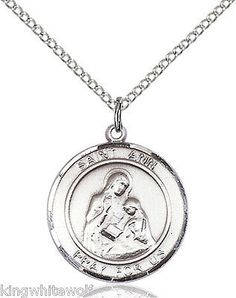 """Bliss St Ann Patron Saint Sterling Silver Medal Necklace w/18"""" Stainless Chain"""