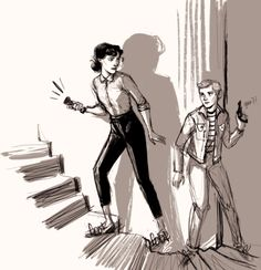"""""""dumb femlock sketch thing where sherlock is a 50s(???) detective girl and john is her cool greaser girlfriend?? yes"""" YES."""
