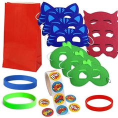 12 Guest Favor Set - Red, Green, Blue Superhero Masks, Favor Bags, Stickers, Wristbands Third Birthday, 4th Birthday Parties, Boy Birthday, Birthday Ideas, Pj Mask Party Decorations, Party Masks, Toddler Birthday Cakes, Favor Bags, Blue Superhero