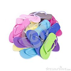 Party game idea - kids race to match up pairs of colourful flip flops and after can decorate their own pair.