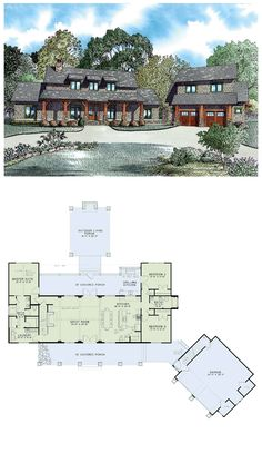 Shingle House Plan chp-53449 at COOLhouseplans.com | Total living area: 2555 sq ft, 5 bedrooms & 4 bathrooms. Interesting layout. One living area upstairs and guest quarters above garage. Add finished basement and it would be great.