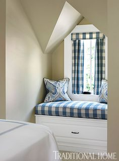 Traditional Blue And White Buffalo Check Bedroom Window Seat