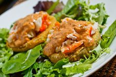 Fried Green Tomatoes with Crab Remoulade    For an impressive appetizer.  Stack these ingrediates and add a cm thick slice of avocado in the middle.    By far my favorite salad/app recipe EVER!!!!