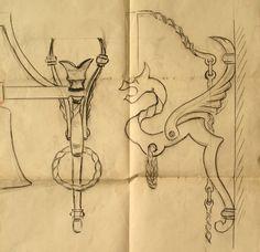 Disegno di Carlo Mantegazza per i ferri battuti della Cassinella (Archivio Studio Mantegazza).